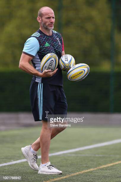 Lewis Boyce of Harlequins looks on during a Harlequins training session at Surrey Sports Park on July 19 2018 in Guildford England