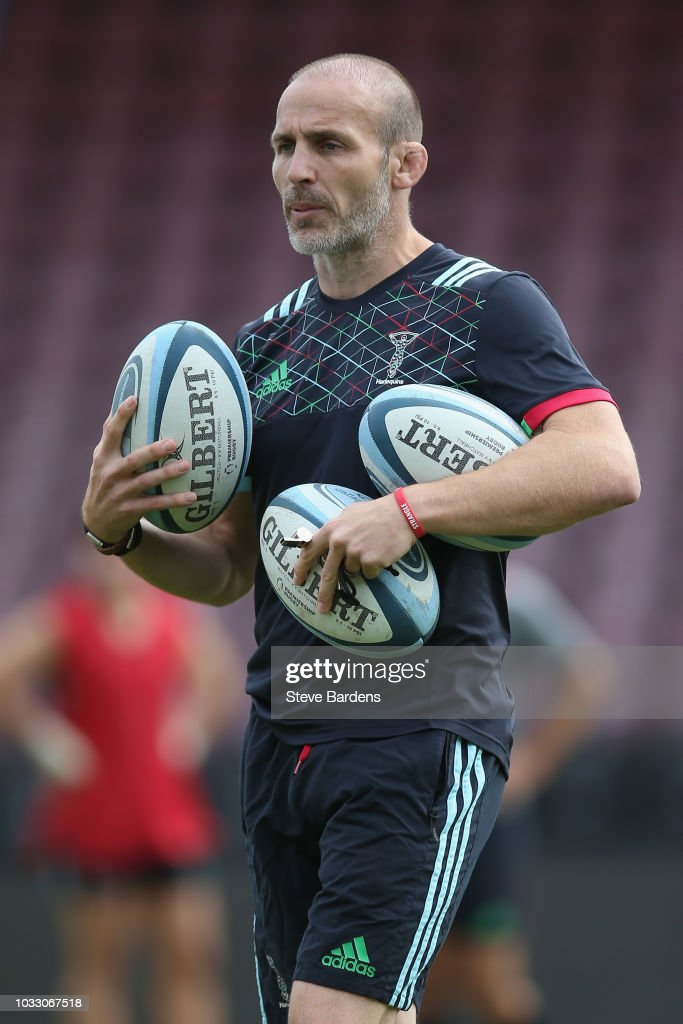 The Harlequins Head of Rugby, Paul Gustard looks on during the captain's run at Twickenham Stoop on September 14, 2018 in London, England.