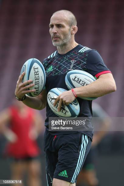 The Harlequins Head of Rugby Paul Gustard looks on during the captain's run at Twickenham Stoop on September 14 2018 in London England