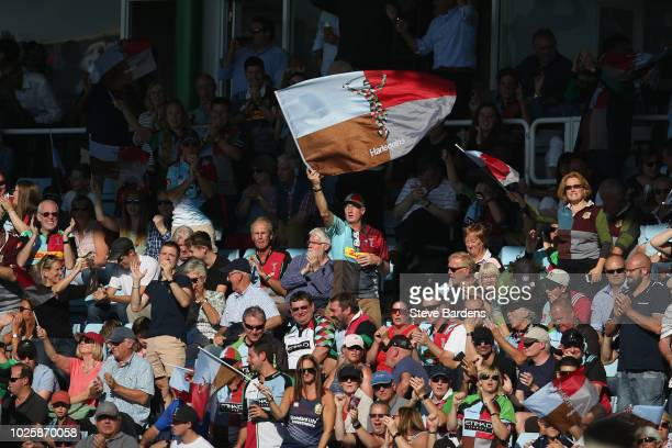 The Harlequins supporters enjoy the atmosphere during the Gallagher Premiership Rugby match between Harlequins and Sale Sharks at Twickenham Stoop on...