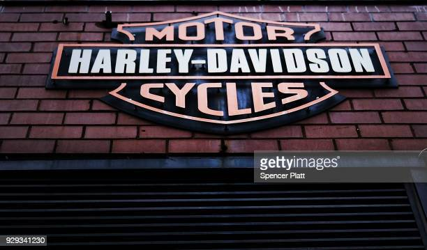 The Harley Davidson logo is displayed on a building at the New York store on March 8 2018 in New York City HarleyDavidson the iconic American...