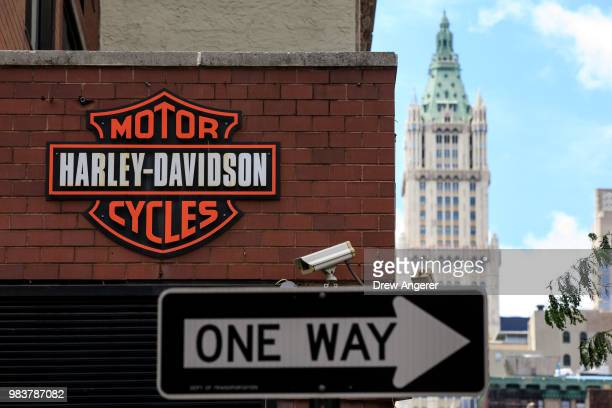 The Harley Davidson logo is displayed on the outside of the HarleyDavidson of New York City store June 25 2018 in New York City The American...