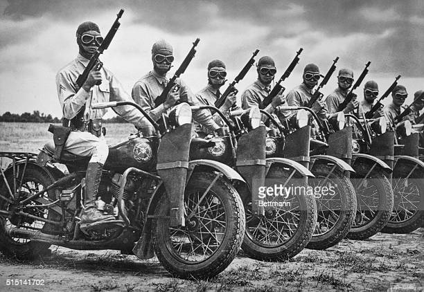 The Harley Davidson Motor Co built more than 90000 motorcycles during World War II for the armed forces A row of Army Armored Division contingency of...