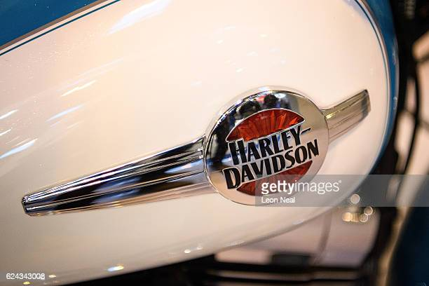 The Harley Davidson motorbike company logo is seen at the Motorcycle Live show on November 19 2016 in Birmingham England The show features the latest...