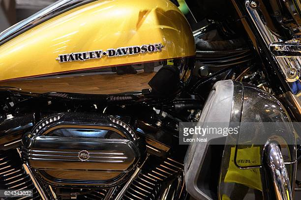 The Harley Davidson motorbike company logo is seen at the 'Motorcycle Live' show on November 19 2016 in Birmingham England The show features the...