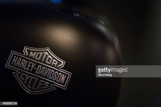 The HarleyDavidson Inc logo is seen on the side of a gas tank on display at the visitors center of the company's manufacturing facility in York...