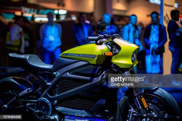 The HarleyDavidson LiveWire electric motorcycle is displayed at the Panasonic exhibit during CES 2019 in Las Vegas Nevada on January 8 2019