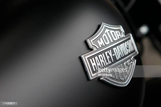 The HarleyDavidson motorcycles logo is displayed on a motorcycle for sale at Bartels' dealership in Marina del Rey California US on Wednesday July 24...