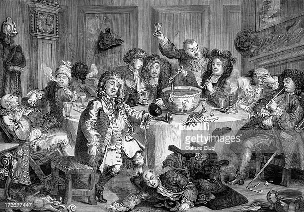 The Harlot's progress by William Hogarth. The midnight conversation. WH: English artist - 1697 -1764.