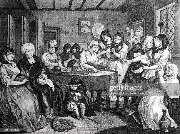 The Harlot's progress engraving from William Hogarth's series of 6 pictures This the final picture shows the harlot in coffin being mourned by...