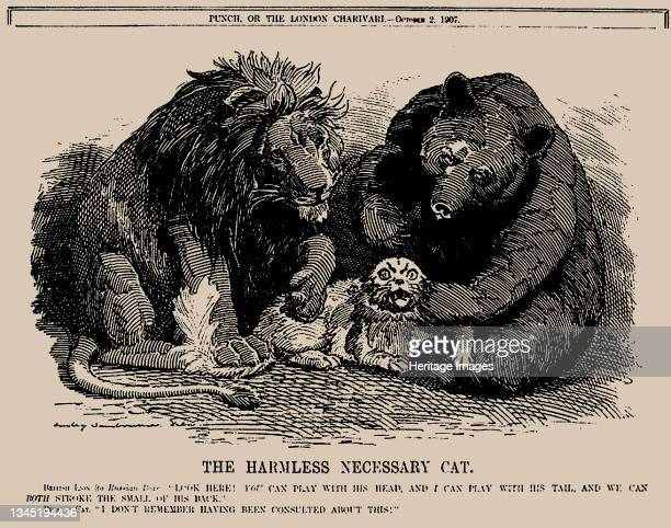 The Harmless Necessary Cat. Punch, 2 October 1907, 1907. Private Collection. Artist Sambourne, Edward Linley .