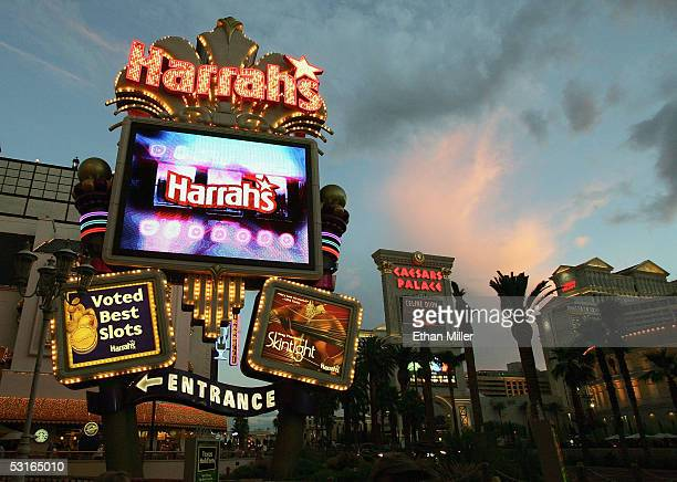 The Harrah's Las Vegas and Caesars Palace marquees are seen on the Strip June 27, 2005 in Las Vegas, Nevada. Harrah's Entertainment, Inc.completed...