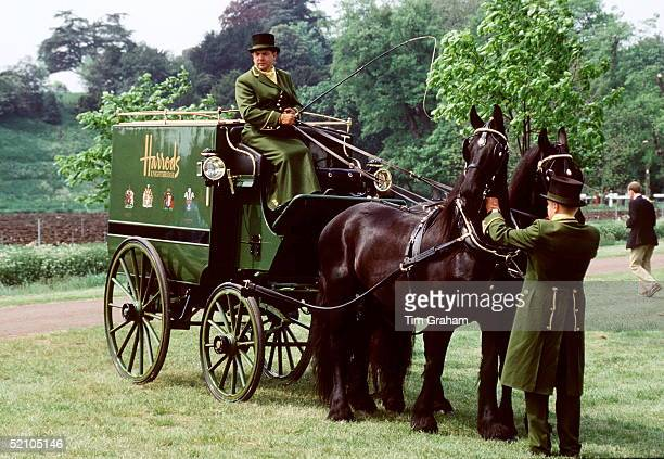 The Harrods Carriage Displaying The Royal Warrants At The Royal Windsor Horse Show Sponsored By Mohammed Al Fayed As Owner Of Harrodscirca 1990s