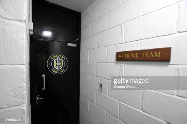 The Harrogate Town dressing room is seen ahead of the FA Cup First Round match between Harrogate Town A.F.C and Portsmouth FC at CNG Stadium on...