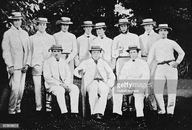 The Harrow XI from the 1861 cricket match against Eton From left to right G Meek the Honourable Edward Archibald Brabazon Acheson Charles Francis...