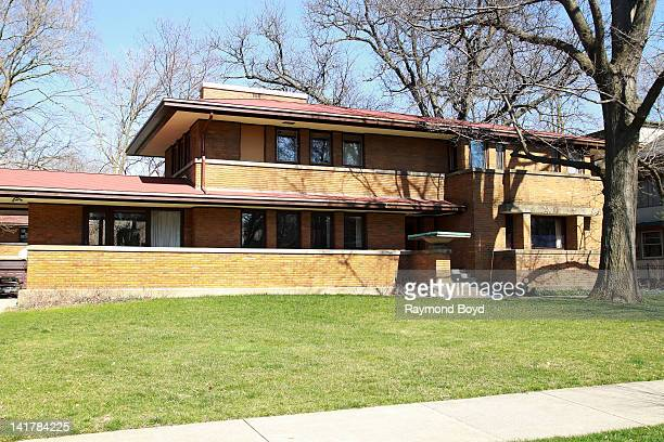 The Harry S. Adams House and Garage, built in 1913 and designed by famed architect Frank Lloyd Wright, in Oak Park, Illinois on MARCH 17, 2012.