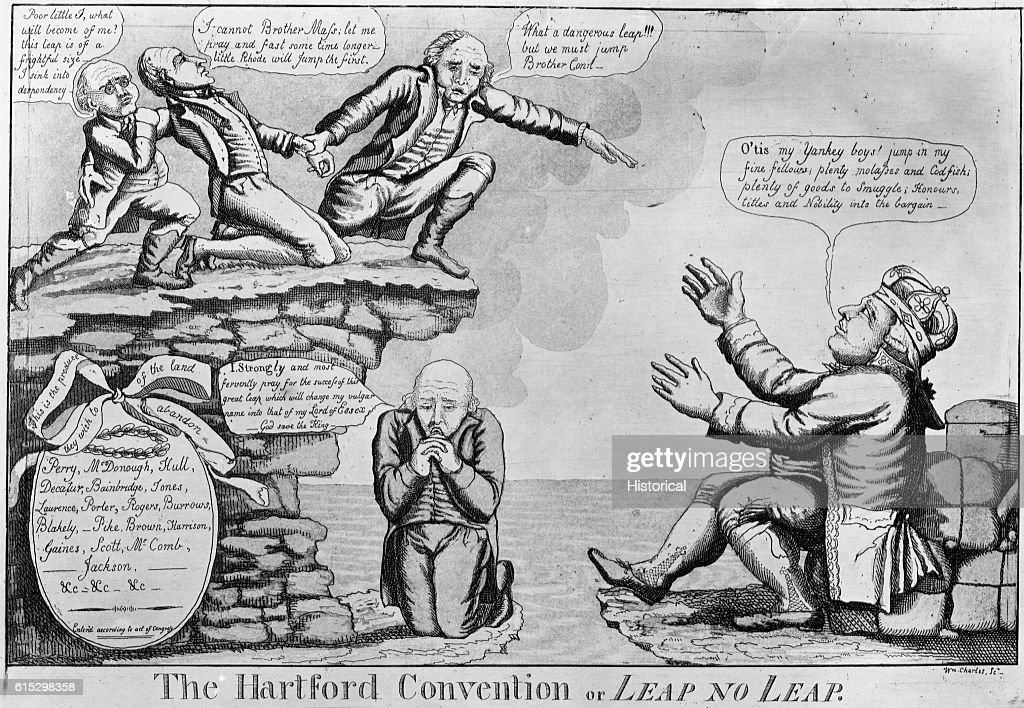 The Hartford Convention Political Cartoon by William Charles : News Photo