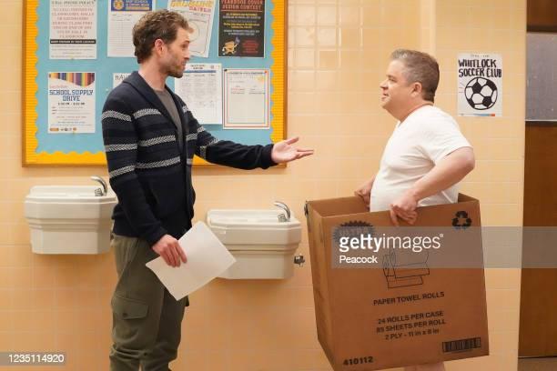 "The Harvard Pen"" Episode 408 -- Pictured: -- Glenn Howerton as Jack Griffin, Patton Oswalt as Principal Ralph Durbin --"