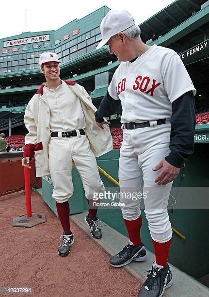 The Harvard University baseball team took batting practice at Fenway Park this afternoon to commemorate the 100th anniversary of the first game ever...