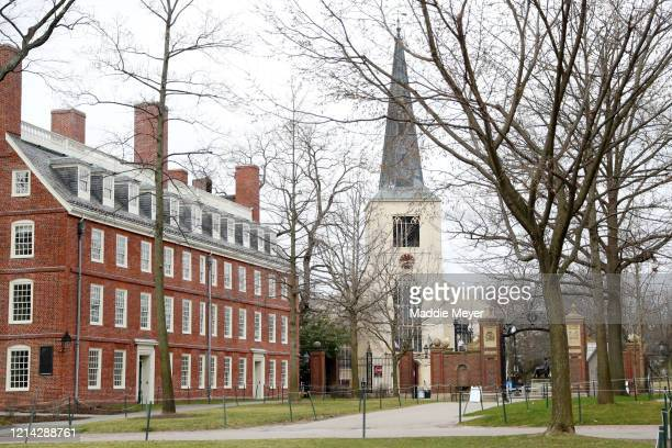 The Harvard University campus is shown on March 23, 2020 in Cambridge, Massachusetts. Students were required to be out of their dorms no later than...