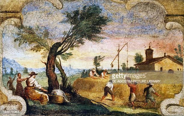 The harvesting fresco by Giovanni Francesco Barbieri known as il Guercino Cento Pinacoteca Civica