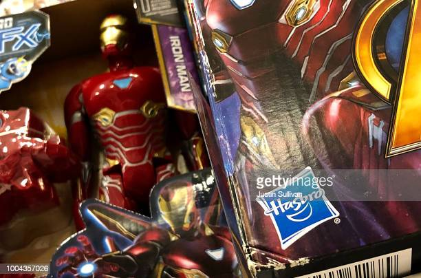 The Hasbro logo is displayed on Marvel Iron Man toys at a Target store on July 23 2018 in San Rafael California Hasbro Inc reported better than...