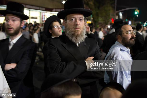 The Hasidic community of Borough Park gathers to celebrate Lag B'omer a religious holiday held thirty three days after Passover on May 2 2018 in...