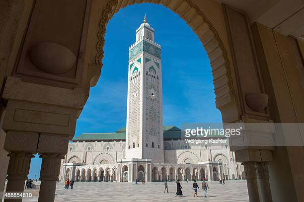 The Hassan II Mosque or Grande Mosquee Hassan II in Casablanca is the largest mosque in Morocco and Africa Its minaret is the world's tallest at 210...