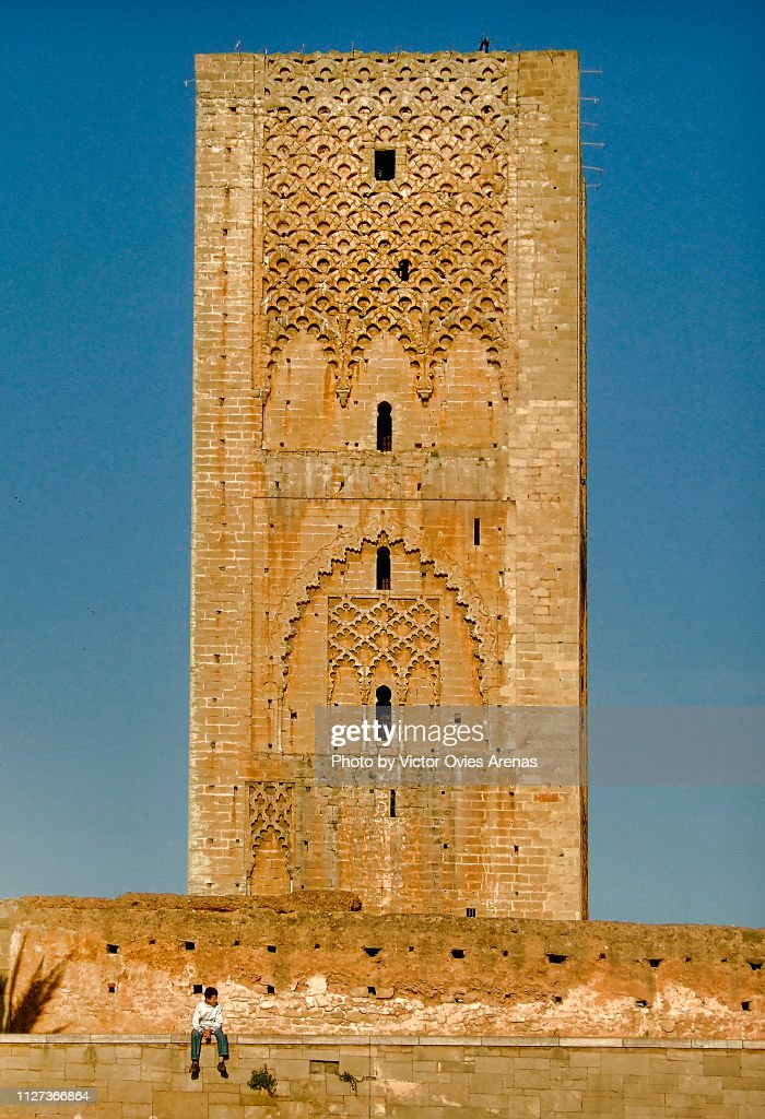The Hassan Tower at sunset in Morocco : Foto de stock