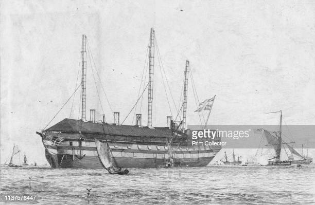The Hastings Seventy Four Lying in Ordinary in the Medway' 1829 HMS 'Hastings' a 74gun third rate ship of the line of the Royal Navy was built in...
