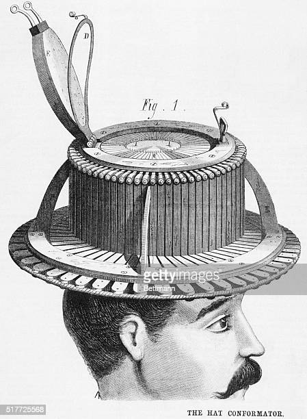 The hat conformator and its diagrams. When the customer tries this on he wears a click, the hatter removes a scrap of paper on which is pricked a...