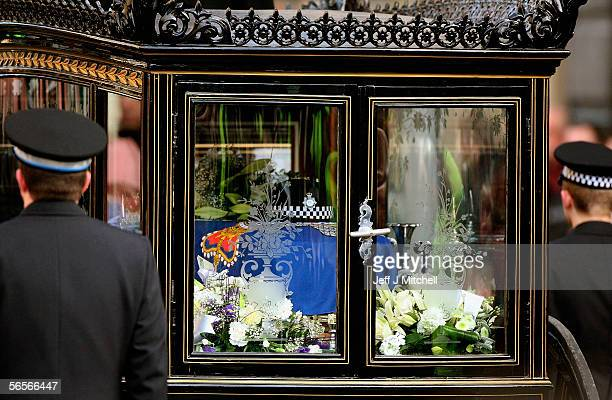 The hat of Police Constable Sharon Beshenivsky sits on her coffin during her funeral in Bradford on January 11 2006 in Bradford England PC...