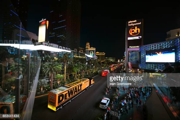 The hauler of Matt Kenseth Joe Gibbs Racing Toyota Camry drives on Las Vegas Blvd for the NASCAR Monster Energy Cup Series Kobalt 400 Hauler Parade...