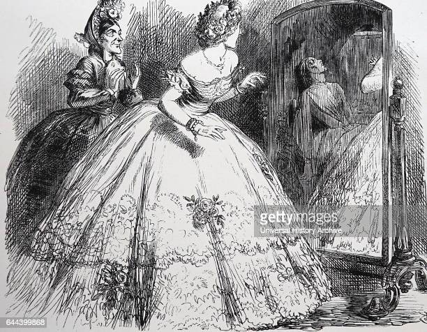 The Haunted Lady Dressmaker enthusing over the wonderful gown that has been made for an aristocratic client In the mirror we see a vision of the...