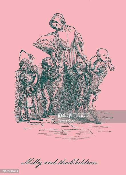 The Haunted Man and the Ghosts Bargain by Charles Dickens published in 1848 Caption reads Millly and the Children Milly Swidger greeted by children...