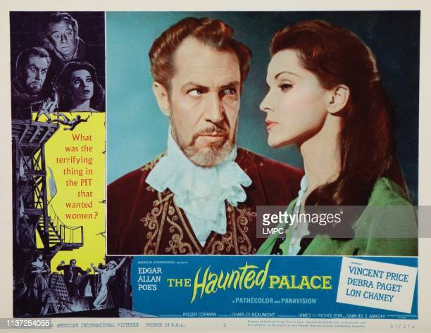 The Haunted Palace, lobbycard, from left: Vincent Price, Debra Paget, 1963.