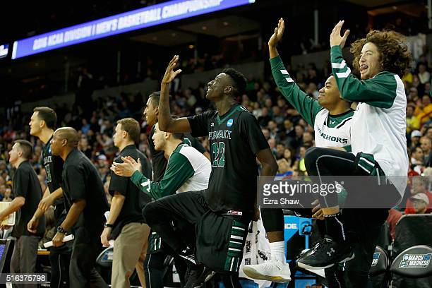 The Hawaii Warriors bench celebrates in the closing mintues against the California Golden Bears during the first round of the 2016 NCAA Men's...