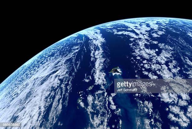 the hawaiian islands, in an orbital view facing northeast from a - hawaii inselgruppe stock-fotos und bilder