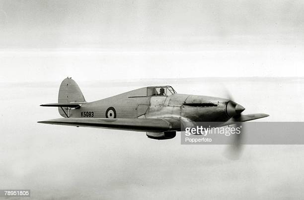 "The Hawker Monoplane F.36/34 interceptor prototype Hurricane, registration K5083 powered by a 1,025 h.p. Rolls-Royce Merlin ""C"" engine, driving a..."