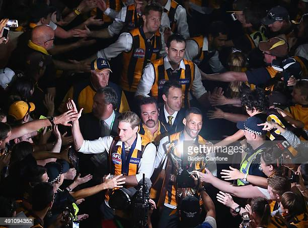 The Hawks acknowledge their fans after the 2015 AFL Grand Final match between the Hawthorn Hawks and the West Coast Eagles at Melbourne Cricket...