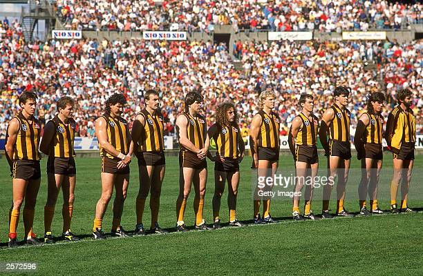 The Hawks lineup during the National Anthem before the start of the 1989 AFL Grand Final played between the Hawthorn Hawks and the Geelong Cats held...