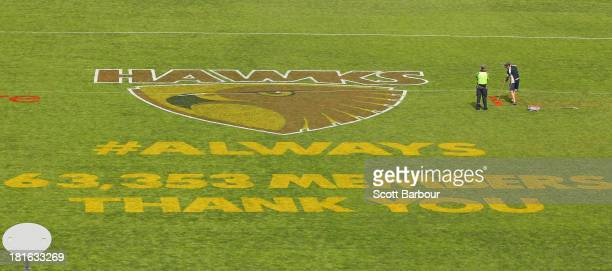 The Hawks logo and a message is painted onto the grass at Waverley Park on September 23 2013 in Melbourne Australia The Hawthorn Hawks play the...