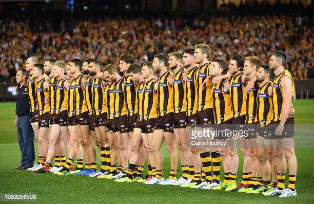 The Hawks stand for the national anthem during the AFL Semi Final match between the Hawthorn Hawks and the Melbourne Demons at the Melbourne Cricket...