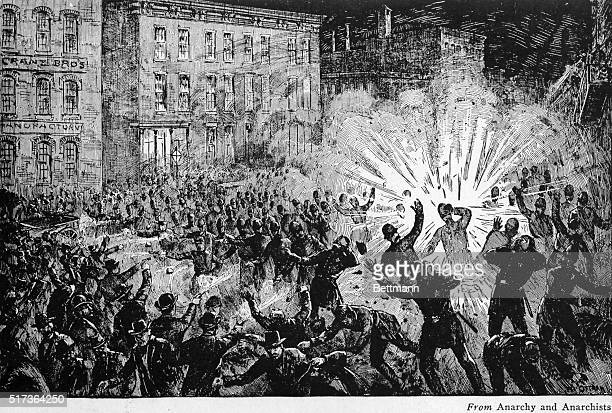 The Haymarket bomb explosion in Chicago May 4 which killed 7 police and wounded 70 others The bomb was thrown after police dispersed an anarchist...