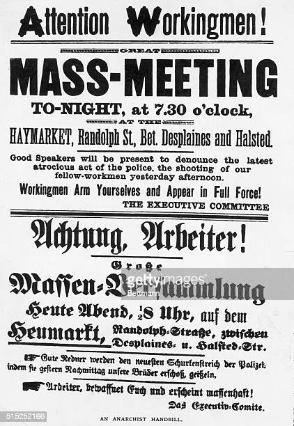 The Haymarket Riot in Chicago May 4 1886 Poster protesting the atrocity of the police and calling for renewed mass meeting