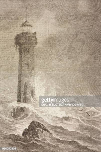 The Hazard lighthouse Florida United States of America drawing by Alphonse de Neuville from a sketch by Poussielgue from Four months in Florida...