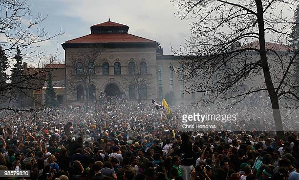 The haze of marijuana smoke looms over a crowd of thousands at 420 pm April 20 2010 at the University of Colorado in Boulder Colorado April 20th has...