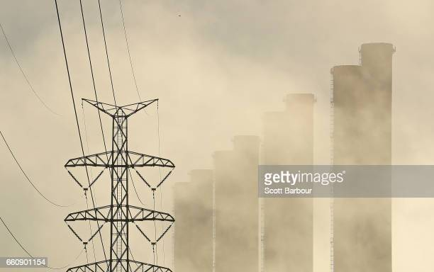 The Hazelwood Power Station and a electricity pylon is seen on March 31 2017 in Hazelwood Australia Around 750 workers have been left jobless at the...