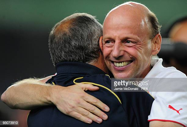 The head coach Dany Ryser of Switzerland celebrates winning the FIFA U17 World Cup during the FIFA U17 World Cup Final match between Switzerland and...