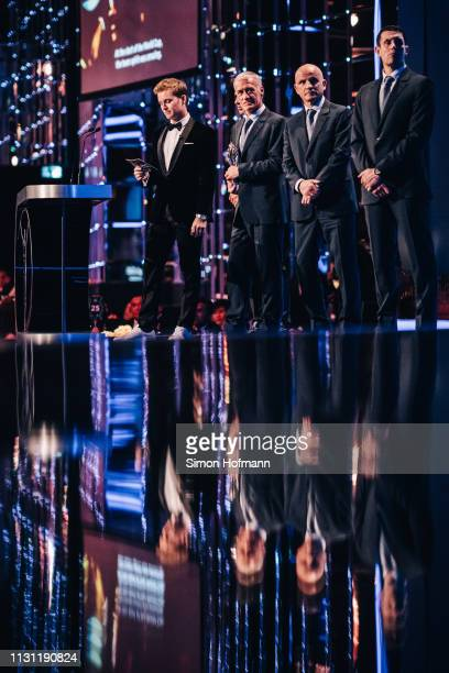 The Head coach Dider Deschamps of the Laureus World Team Of the Year 2019 winner the French World Cup Team accepts the Laureus award on behalf of the...